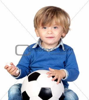 Beautiful baby with a soccer ball
