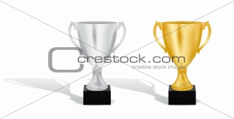 Silver and Gold trophy cups vector illustration