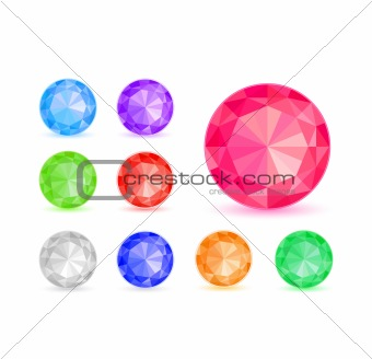 Round Colorful Diamond Stone Icon Set Isolated on White Background. Vector Illustration EPS8