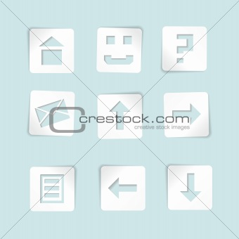 Set of paper icons on blue background