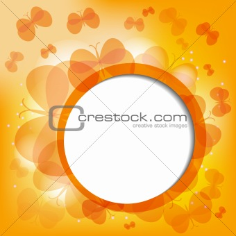 Abtract background with bunch of orange butterflies