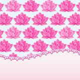 Invintation Card with Place for Text and Lily Flowers. Vector Lotus Illustration