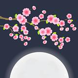 Floral Image. Branch of Sakura Cherry Tree on Dark Blue Sky with Huge Moon. Japanese Vector Illustration