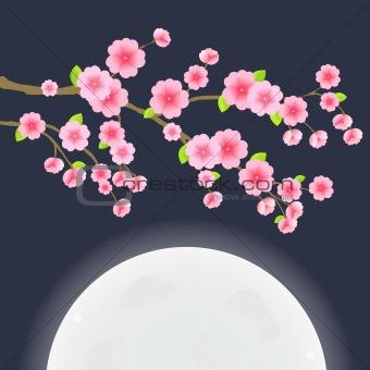 Floral Image. Branch of Sakura Cherry Tree on Dark Blue Sky with Huge Moon. Japanese Vector Illustration