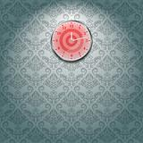 Grey Wallpaper and red Clock on Wall in Room. Vector Illustration