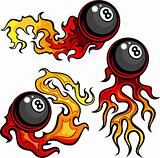Billiards Eight Ball Flaming Vector Design Template