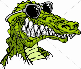 Gator or Alligator Wearing Sunglasses Mascot Cartoon