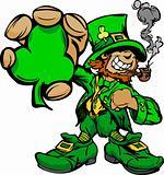 Smiling St. Patricks Day Leprechaun Holding Shamrock Clover