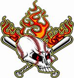 Softball Baseball Skull and Bats Flaming Cartoon Image