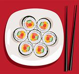 vector sushi on the plate and chopsticks