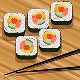 vector sushi on bamboo mat and chopsticks