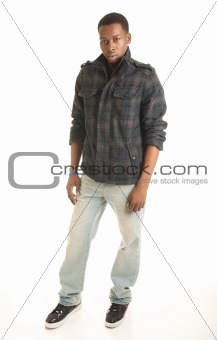 Casual black male model on white isolation