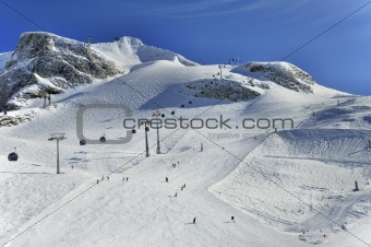 Ski runs on slopes of Hintertux Glacier