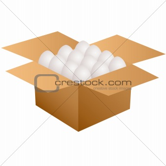 Cardboard box with white eggs.