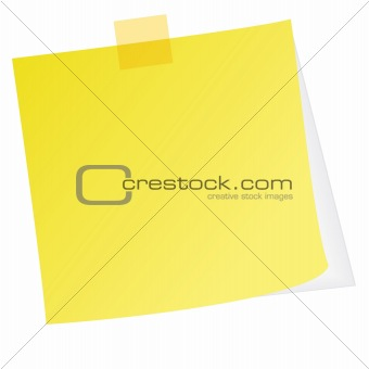 Yellow post note with white background