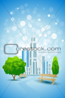 Blue Background with City Landscape Tree and Bench