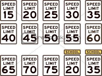 U.S. Highway Speed Limit Signs
