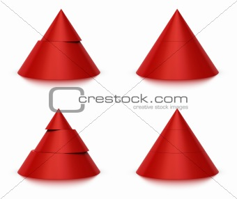 3d conical shape sliced, 2 or 3 levels