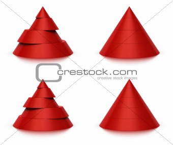 3d conical shape sliced, 4 or 5 levels