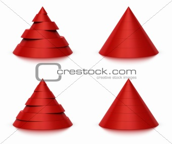 3d conical shape sliced, 6 or 7 levels