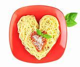 I love Pasta / Spaghetti isolated on white / Heart Shape