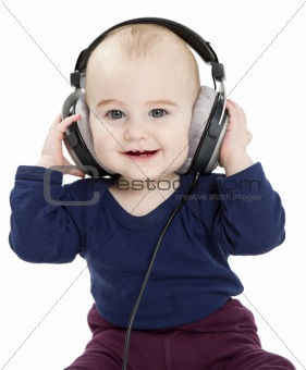 toddler with earphones