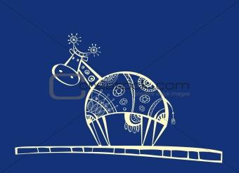 Blue cow illustration