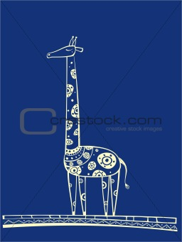 Blue giraffe illustration