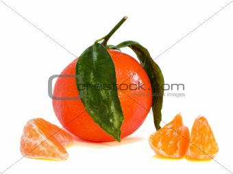 One mandarin and his slices