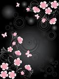 Pink Sakura floral branch