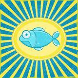 Grunge Yellow Blue Radial Striped Card with Cyan Fish. Vector Illustration