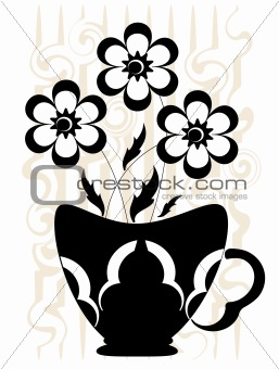 Flowrs in the basket vase, vector