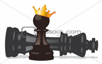vector chess pawn with golden crown and defeated king