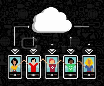 Cloud computing cell phone background