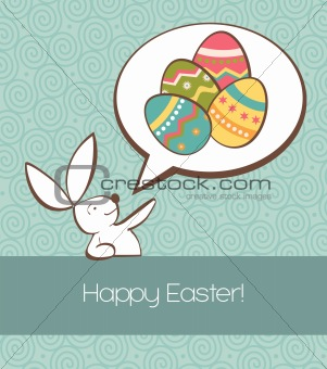 Social Easter bunny with painted egg