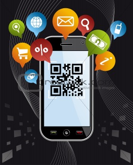 Go social via Smartphone: QR code application on black
