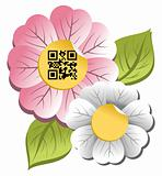 Spring time flower with qr code label