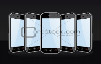 Set of Smartphones templates on black