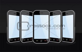 Set of Smartphones templates on black