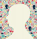 Social media man head icon texture