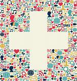 Social media plus sign texture
