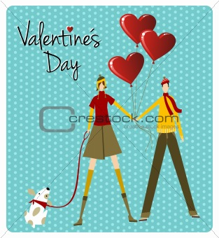 Couple and dog love Valentines day greeting card