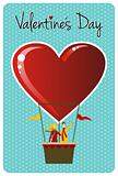 Couple in hot air balloon Valentines day greeting card