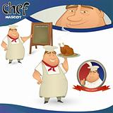Vector chef - French restaurant mascot. 