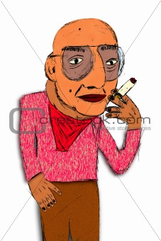 Cartoon, Sketch, of Old Smoker