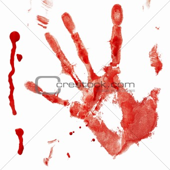 Bloody handprint with drop