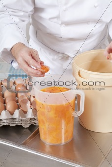 Pastry Chef prepares the ingredients