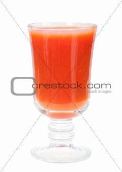 Single glass with red tomato juice