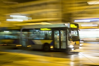 Motion blurred bus
