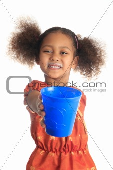 African American children and Asian long hair drinks milk
